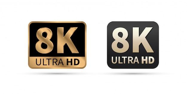 Icono de 8k ultra hd.