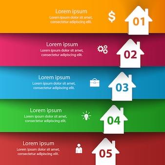 Icono abstracto 3d de la casa. infografía de negocios