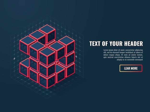 Icono abstracto de cubos digitales, concepto de compilación de un producto de software