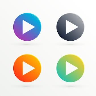 Icono abstracto de reproducir en diferentes colores