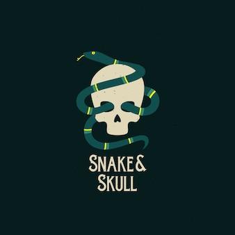 Icono abstracto de serpiente y cráneo