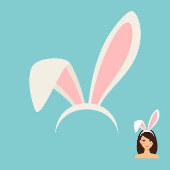 Icono accesorio de orejas de conejito y rostro femenino con orejas de conejo.