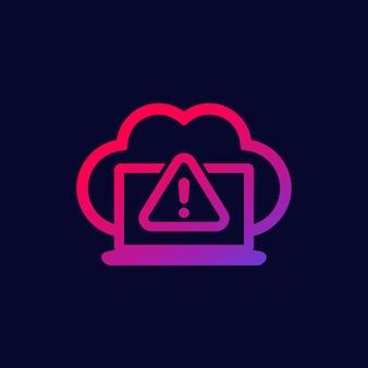 Icono de advertencia con nube, vector