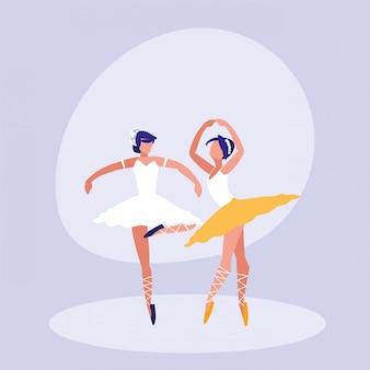 Icono aislado de ballet bailarinas