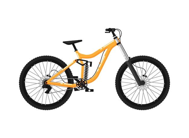 Icono aislado de bicicleta deportiva cuesta abajo