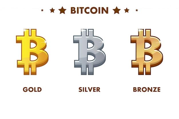 Icono aislado de bitcoin de oro, plata y bronce. monedas digitales o virtuales y efectivo electrónico
