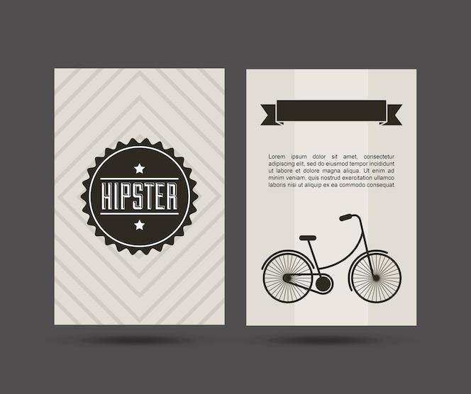 Icono aislado de estilo hipster bicicleta