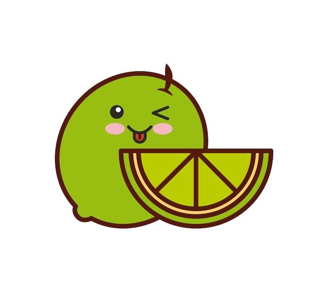 Icono aislado de fruta fresca kawaii carácter