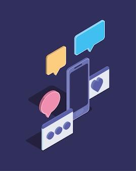 Icono aislado de dispositivo de tecnología de teléfono inteligente