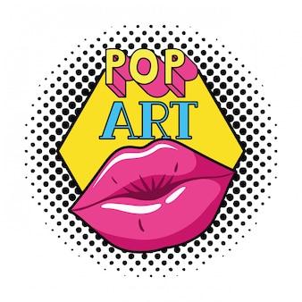 Icono aislado estilo femenino del arte pop de los labios