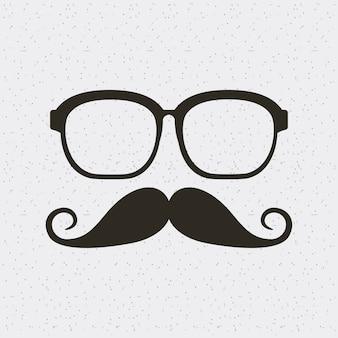 Icono aislado estilo hipster gafas y bigote