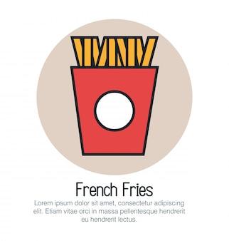 Icono aislado de frenchs fritos