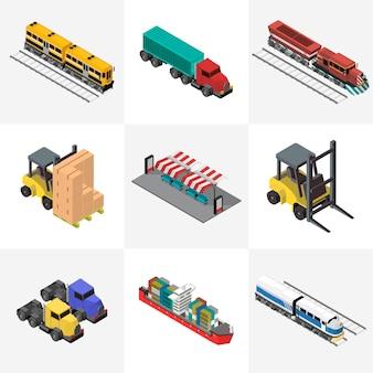 Icono aislado industrial de negocios de logística en el fondo
