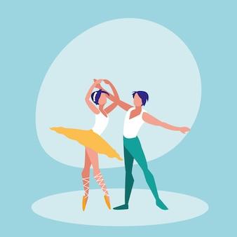 Icono aislado de la pareja de bailarines de ballet