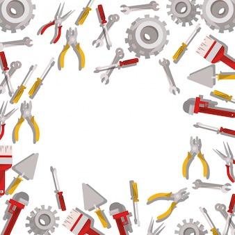 Icono aislado patrón de herramientas de construcción