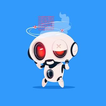 Icono aislado roto lindo robot sobre fondo azul concepto de inteligencia artificial de tecnología moderna