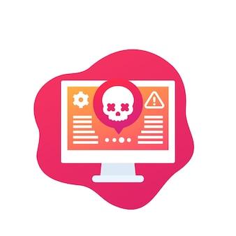 Icono de alerta de ataque cibernético con calavera