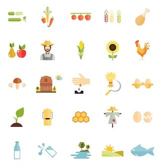 Icono de alimentos orgánicos de granja de vector de estilo plano aislado