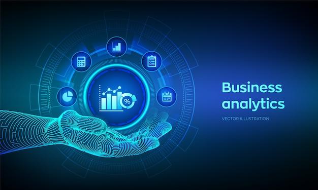Icono de análisis de datos empresariales en mano robótica. concepto de automatización de procesos robóticos en pantalla virtual.