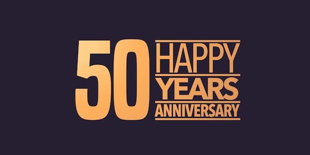 Icono de aniversario de 50 años, símbolo, logotipo. fondo gráfico o tarjeta para la celebración del cumpleaños del 50 aniversario