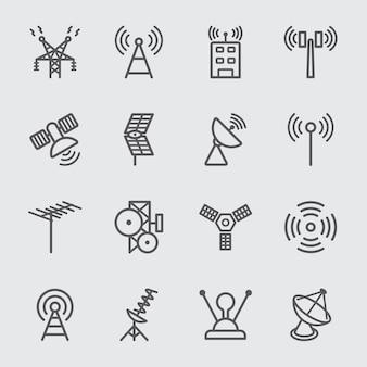 Icono de antena y línea de satélite