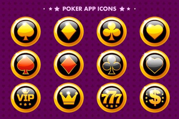 Icono de la aplicación dorada de casino y póker, objetos brillantes para el juego activo