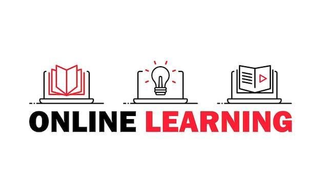 Icono de aprendizaje en línea o estudiar en casa.