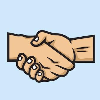 Icono de apretón de manos vector de dibujos animados