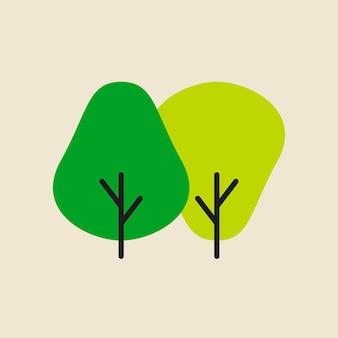 Icono de árbol, ilustración de vector de diseño plano de símbolo de producto natural