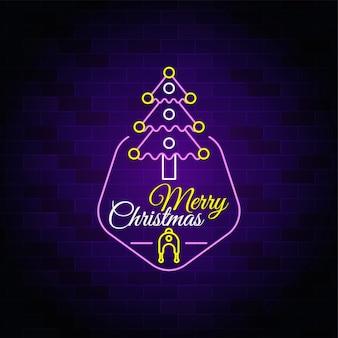 Icono de árbol de navidad feliz - texto de neón de navidad