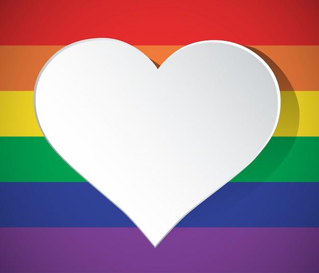 Icono de arco iris en forma de corazón lgbt aislado