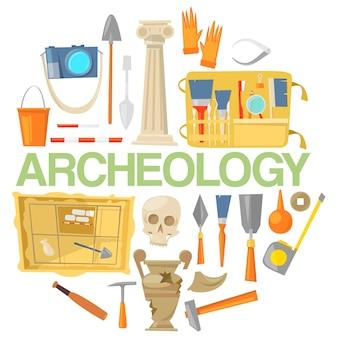 Icono de arqueología establece vector de banner. herramientas arqueológicas, artefactos antiguos.