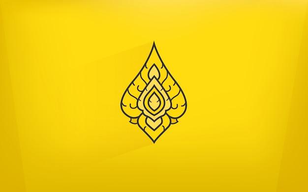 Icono de arte de tradición tailandesa con fondo de color dorado