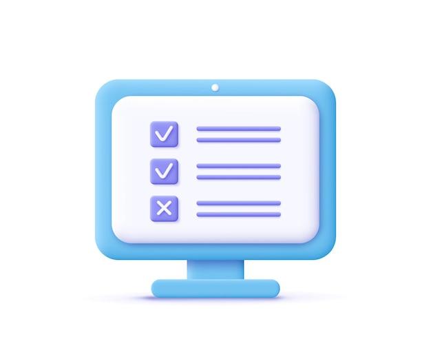 Icono de asignación ilustración de vector 3d de símbolo de documento de lista de verificación de pantalla de computadora