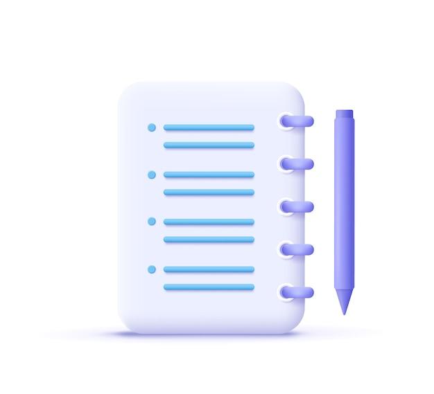 Icono de asignación. portapapeles, lista de verificación, símbolo de documento. ilustración de vector 3d.