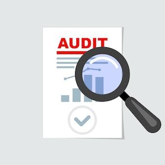 Icono de auditoría - lupa en informe, concepto de auditoría