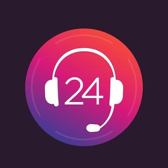 Icono de auriculares, signo de servicio de soporte 24, ilustración vectorial