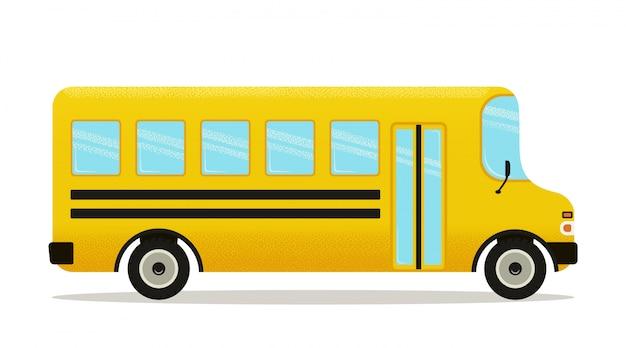 Icono de autobús escolar amarillo aislado en blanco