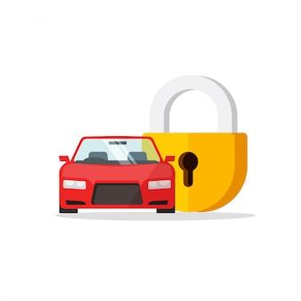 Icono de automóvil de dibujos animados plano y candado cerrado como protección de automóvil o vector de seguridad