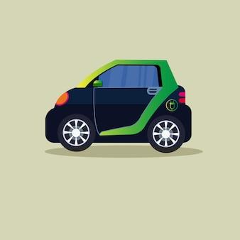 Ícono de automóvil eléctrico, vehículo híbrido cargando con electricidad