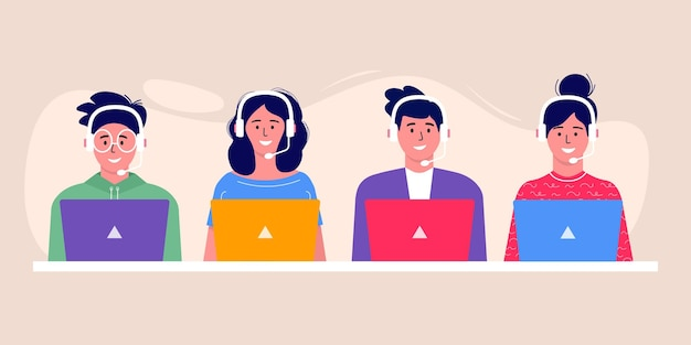 Icono de avatar de operador de centro de llamadas. trabajadores de oficina sonrientes con personajes de dibujos animados de auriculares. atención al cliente, operador de línea directa, gerente de consultoría, atención al cliente, asistencia telefónica, solución.
