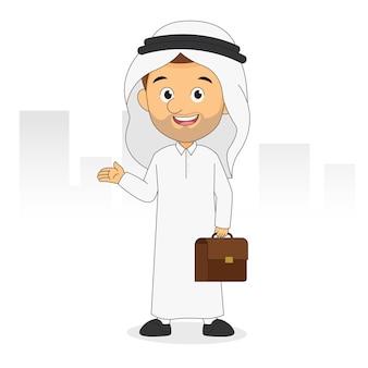 Icono de avatar de personaje de empresario árabe