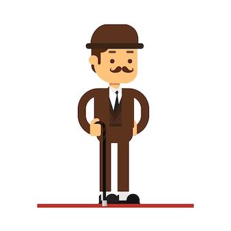 Icono de avatar de personaje de hombre. hombre de caña con traje de tweed marrón y bombín.