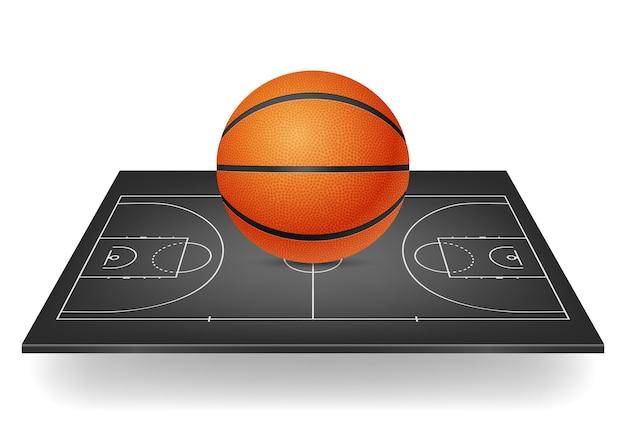 Icono de baloncesto - pelota en una cancha negra.