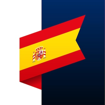 Icono de la bandera de la esquina de españa. emblema nacional en estilo origami. ilustración de vector de esquina de corte de papel.