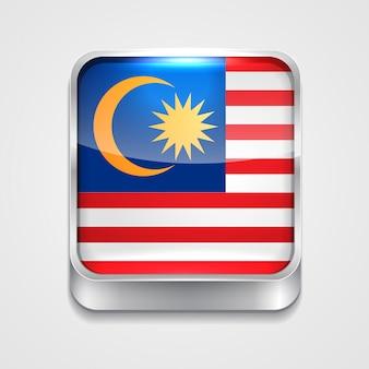 Icono de bandera de estilo de malasia