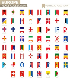 Icono de bandera vertical de europa. colección de banderas vectoriales de países europeos.