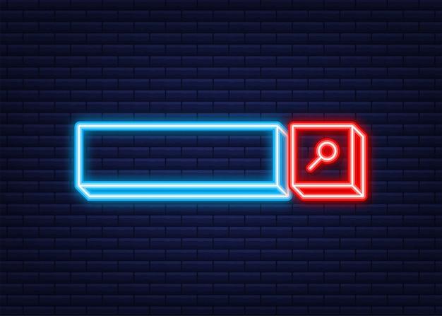 Icono de la barra de búsqueda, conjunto de plantillas de interfaz de usuario de cuadros de búsqueda aislado sobre fondo blanco. icono de neón. ilustración vectorial.