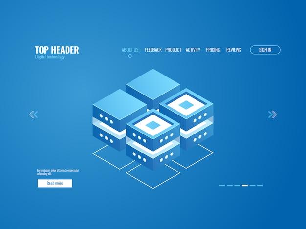 Icono de base de datos, procesamiento de datos y concepto de almacenamiento en la nube, tecnología digital abstracta