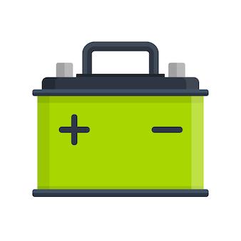 Icono de batería de coche aislado sobre fondo blanco. energía de la batería del acumulador y batería del acumulador de electricidad. acumulador de batería, autopartes, suministro eléctrico de energía en estilo plano
